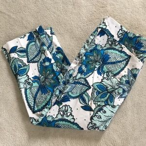Ann Taylor Blue and White Paisley Cropped Pants